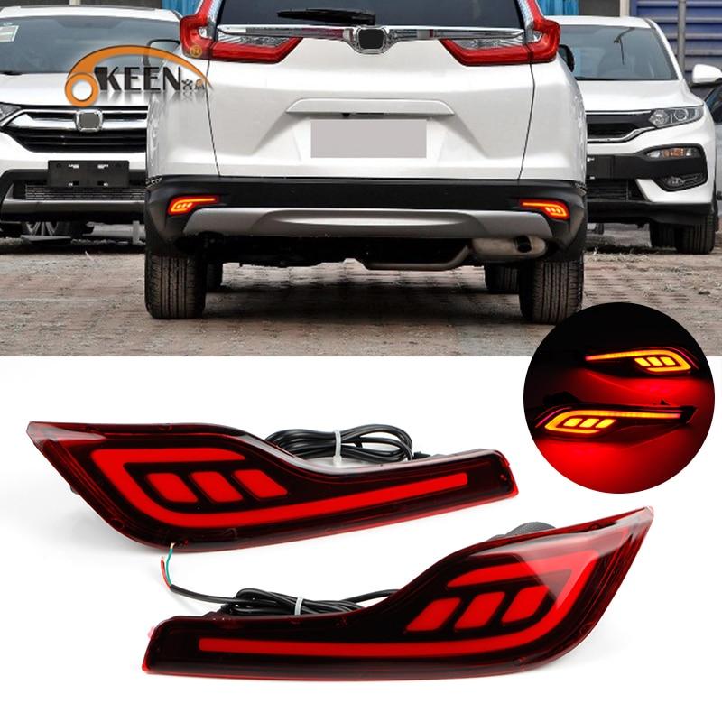 OKEEN For Honda CR V CRV 5th Gen 2017 2018 Chrome Rear Reflector Fog Light Foglight