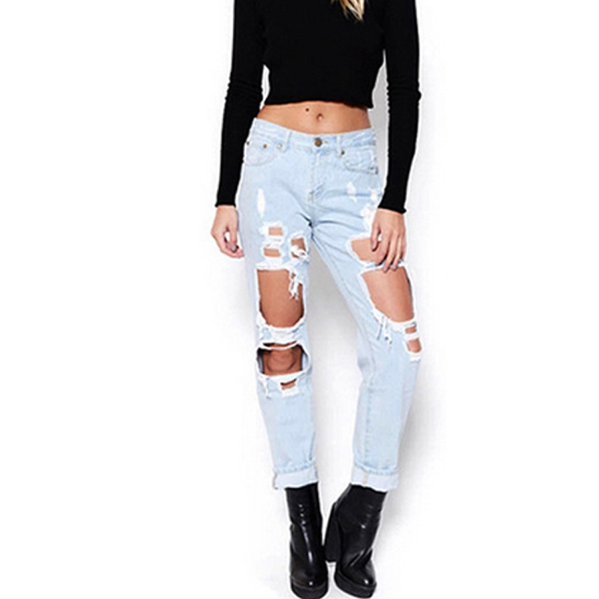 New Woman Vintage Torn Jeans Casual Washed Holes Ripped Denim Jeans Trousers Female Pant Boyfriend hole ripped jeans women setwigg womens ripped thick cotton denim jeans blue washed holes boyfriend style female casual jeans pants sg25