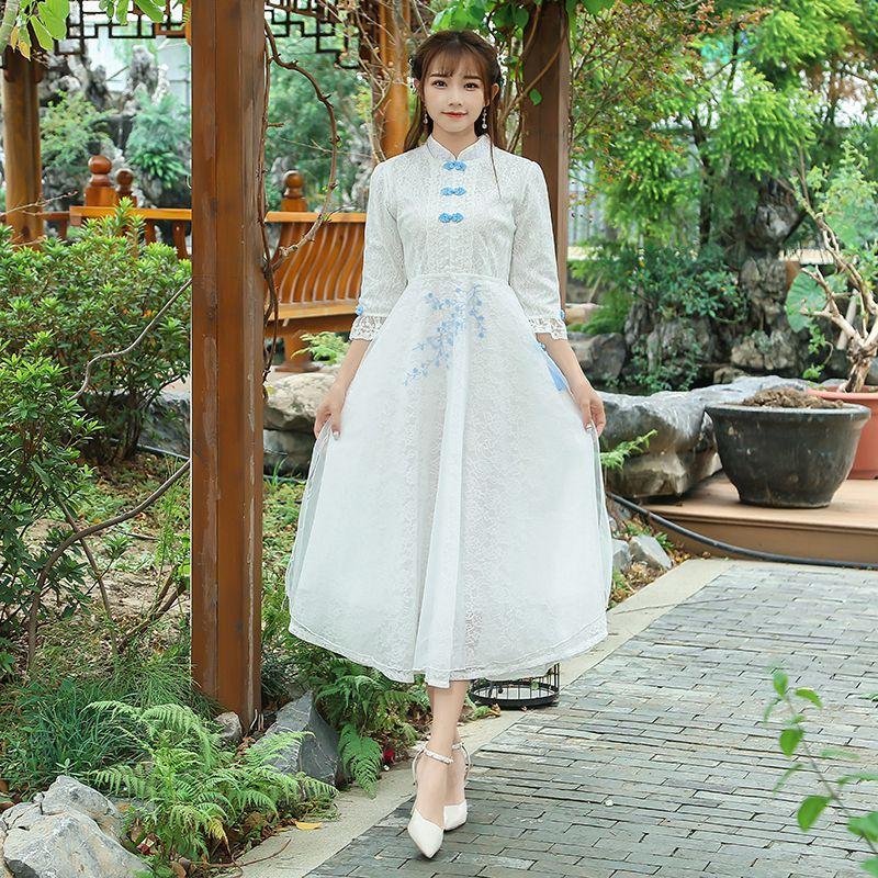 Novas Mulheres Do Vintage vestido de Renda Magro Vento Chinês Borde Pouco Longo Cheongsam Vestidos De Fadas Branco 8091