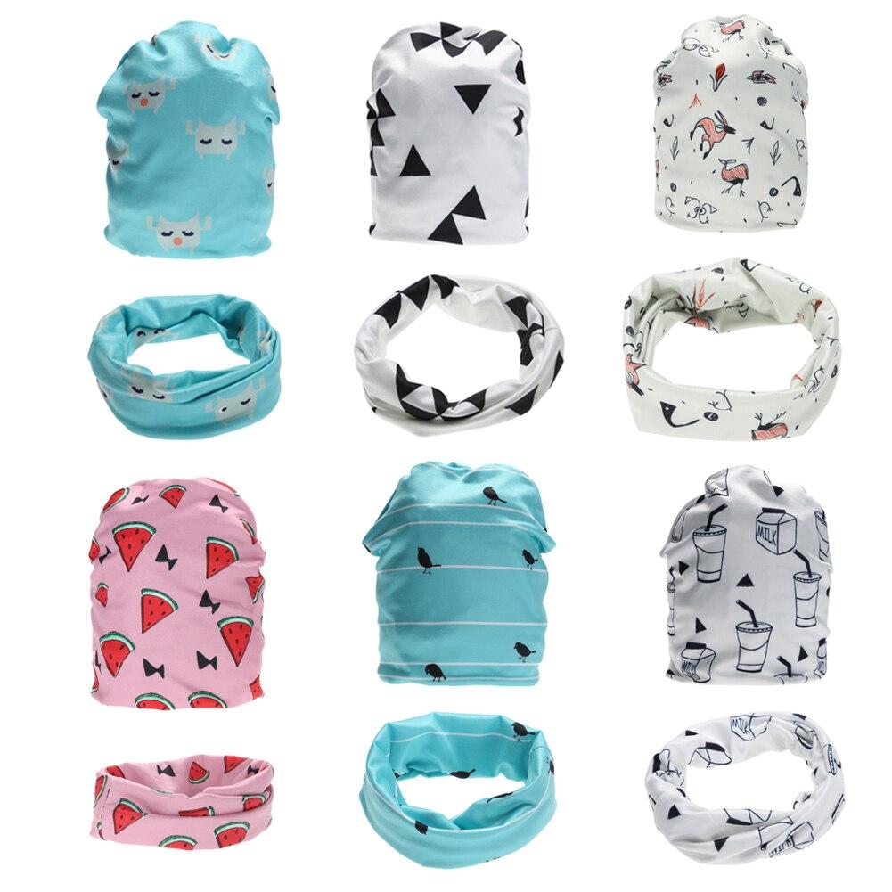 Kids Baby Hat Neckerchief Set Boys Girls Cartoon Cotton Hat Cap Beanie with Neckerchief Scarf Baby Clothing Accessories FCI#