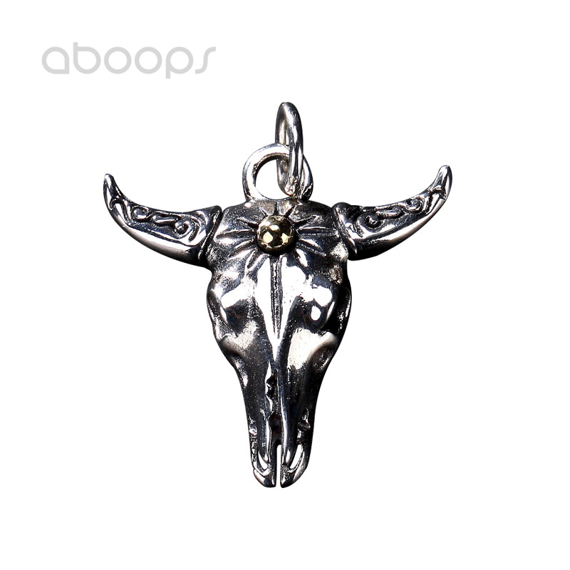 Gothic 925 Sterling Silver Ox Head Skull Pendant for Men Boys Free Shipping