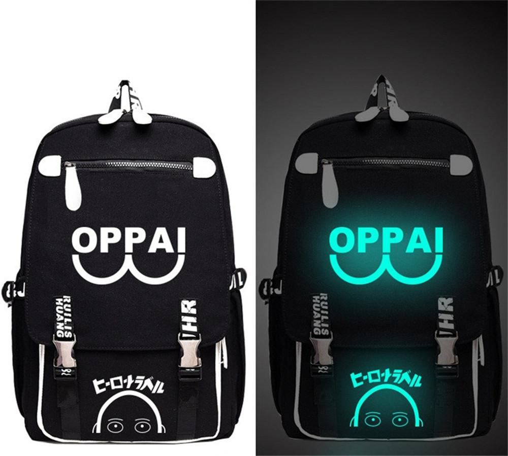 One Punch Man OPPAI Cat Fan Printed Anime Luminous Backpack Bag Messenger Glow in Light School Student Bag Boy Girl Gift