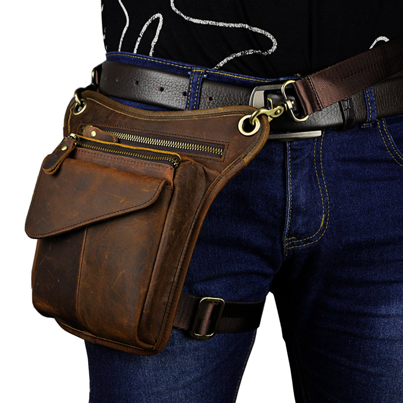 Men's Crazy Horse Leather Drop Leg Bag Fanny Pack Waist Thigh Hip Bum Belt Messenger Shoulder Bag Travel Motorcycle