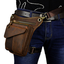 Men's Crazy Horse Genuine Leather Messenger Shoulder Bag Travel Motorcycle Riding Fanny Pack Waist Thigh Drop Leg Bag motorcycle exhaust muffler mid tube slip on link pipe clamp escape for bmw s1000rr exhaust 2010 2011 2012 2013 2014 2015 2016