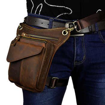 Men's Crazy Horse Leather Drop Leg Bag Fanny Pack Waist Thigh Hip Bum Belt Messenger Shoulder Bag Travel Motorcycle - DISCOUNT ITEM  30% OFF All Category