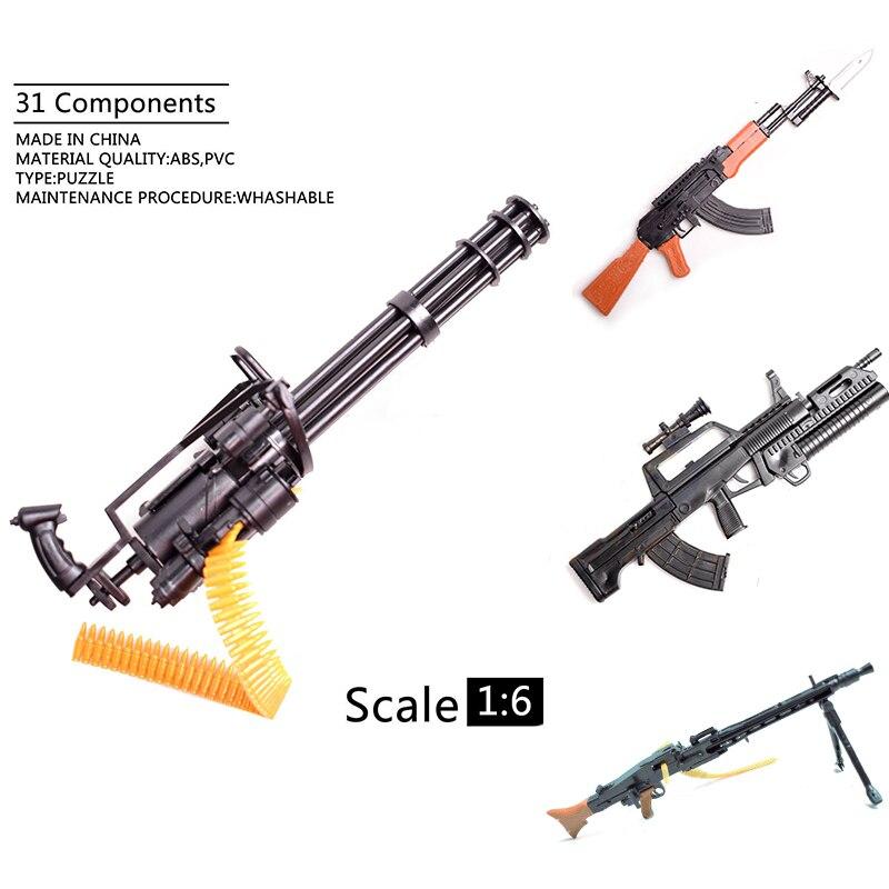 Guns Model-Weapon Terminator Action-Figures Gundam Gatling Minigun AK47 Children 1/6-Scale