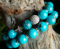 B1510165529  Blue Turquoise Beads Pave CZ Ball and Cross Bracelets Set