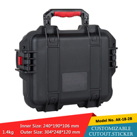 waterproof plastic hard tool carrying case pp and abs weatherproof equipment tool case with Sponge inside 304X248X120M szomk box