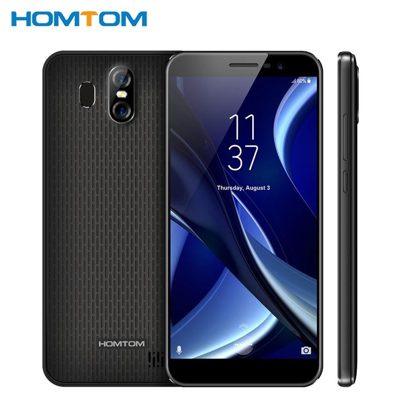 Original HOMTOM S16 Mobile Phone 5.5 inch 2GB RAM 16GB MT6580 Quad Core Android7.0 Dual Cameras 3000mAh Fingerprint Smartphone