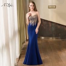 Szata de Soiree Longue Sexy Backless czerwona syrenka koronkowa suknia długie tanie suknie wieczorowe z aplikacjami niebieski Vestido de Festa