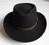 Men and Women 100% Wool Cowboy Hat Riding Fedoras Cap Adult Elegant Wool Wide Brim Felt Bowler Fedora Panama Hat B 4059