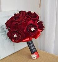 Flores noiva segurando flores do casamento de luxo rosa vermelha broche talão segurando flores