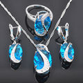FAHOYO Sky Blue Created Topaz Women's 925 Sterling Silver Jewelry Sets Earrings/Pendant/Necklace/Rings Free Shipping QZ073