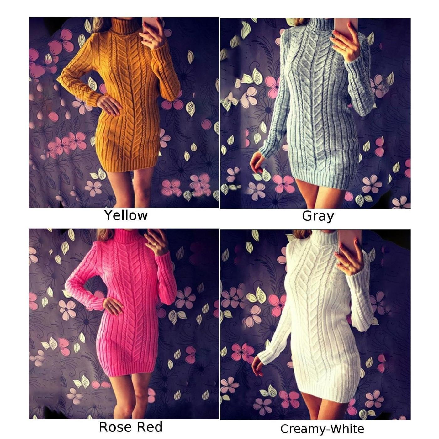 Knit Turtleneck Warm Sweater Winter Jumper Mini Dress Party Slim Fit Sweater Dress 5