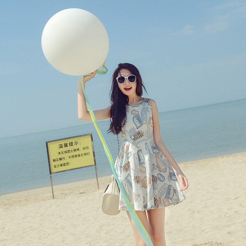 Mishow Sleeveless Cute A-line Cotton Charecter Print Women Sundress 2019 Summer O-neck High Waist Knee-length Dress  MX16C8886
