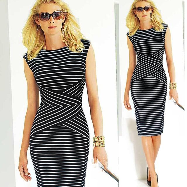fcb6a862ef3 Fashion 2016 Summer Classic sexy sleeveless striped black women dress Party  Wear Office pencil bodycon dress Party Wear w201
