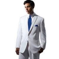 ชุดของผู้ชายที่มีคุณภาพสูงสลิมฟิตสีขาว