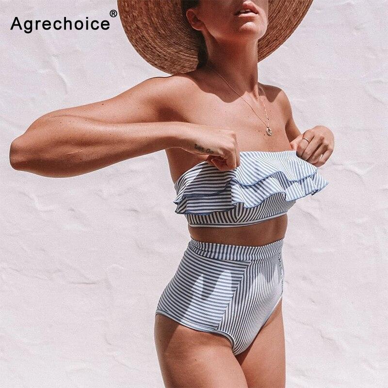 Купальник бикини с высокой талией для женщин, купальник в полоску с оборками, с открытыми плечами, бандо, летняя пляжная одежда, 2020