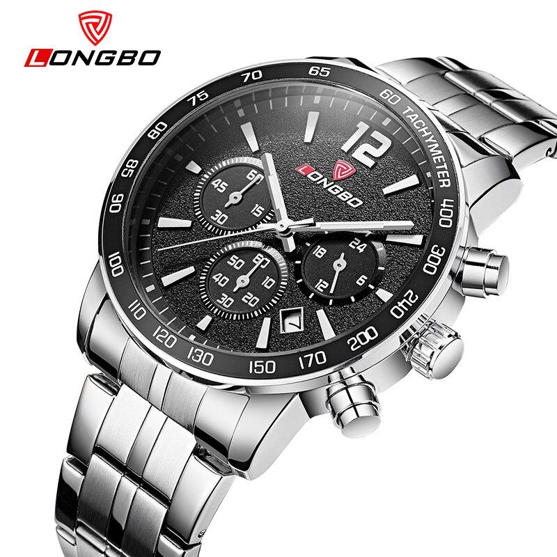 2016 Fashion Watches Men Luxury Brand LONGBO Genuine Leahter Strap Watches Men Sports Quartz-watch Dual Time Relogio Masculino