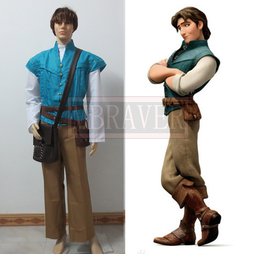 Free Shipping Custom-made Movie Tangled Prince Flynn Rider Cosplay Costume Flynn Rider Prince Costume