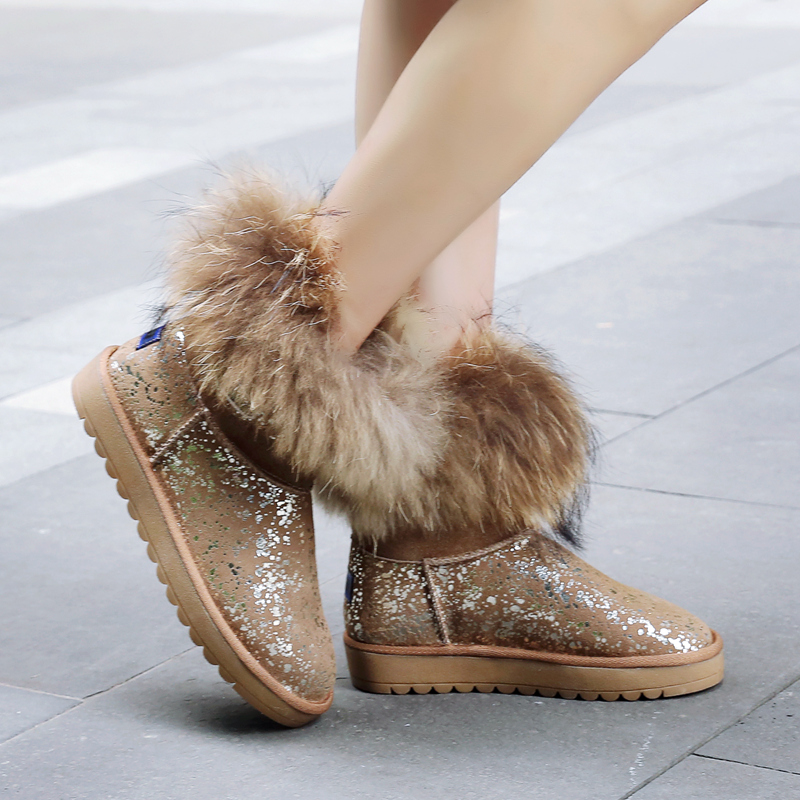 Women Winter Snow Boots2016 Arrival Genuine Leather Sheepskin Leather With Fur Flat With Ankle Round Toe Boots Plush Plus Size only true love new arrival genuine leather women fashion flat heels equestrian snow boots round toe women boots