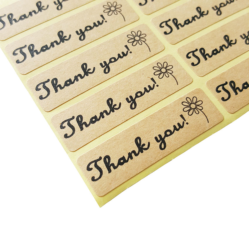 """100 Pcs/lot """"Thank You"""" Flower Kraft Sticker Adhesive Sticker For Hand Made Gift Child Stationery Stickers"""