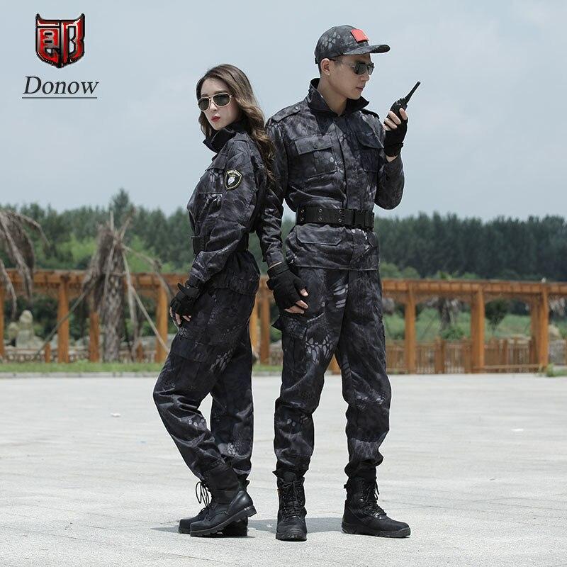 Hommes Vêtements de Chasse Militaire Camouflage Uniforme Noir Python Motif Uniforme de Combat de L'armée Camouflage Costume de Formation de Vêtements Hommes
