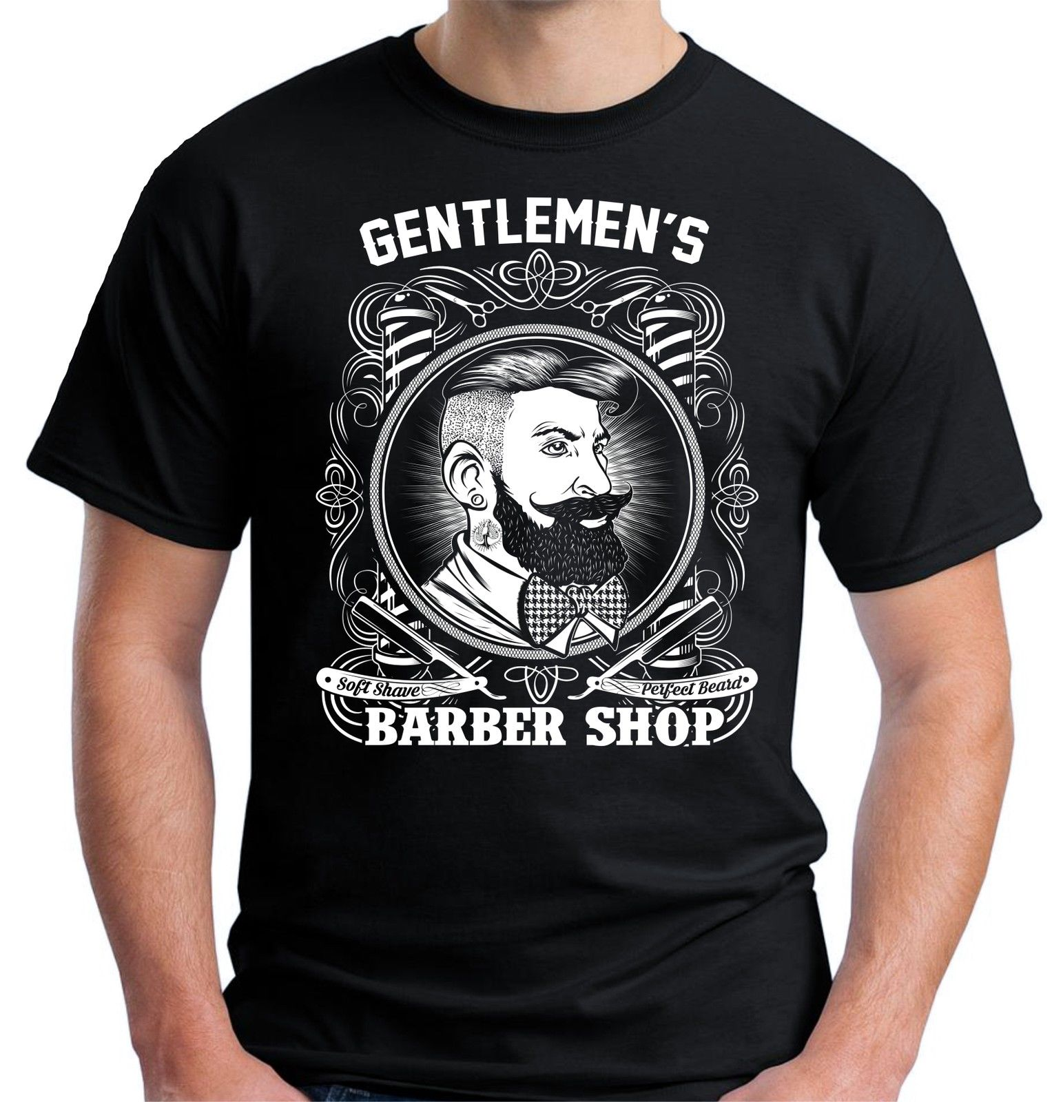 Velocitee Mens Barber Shop Hipster T Shirt Gentlemens Barbers V163