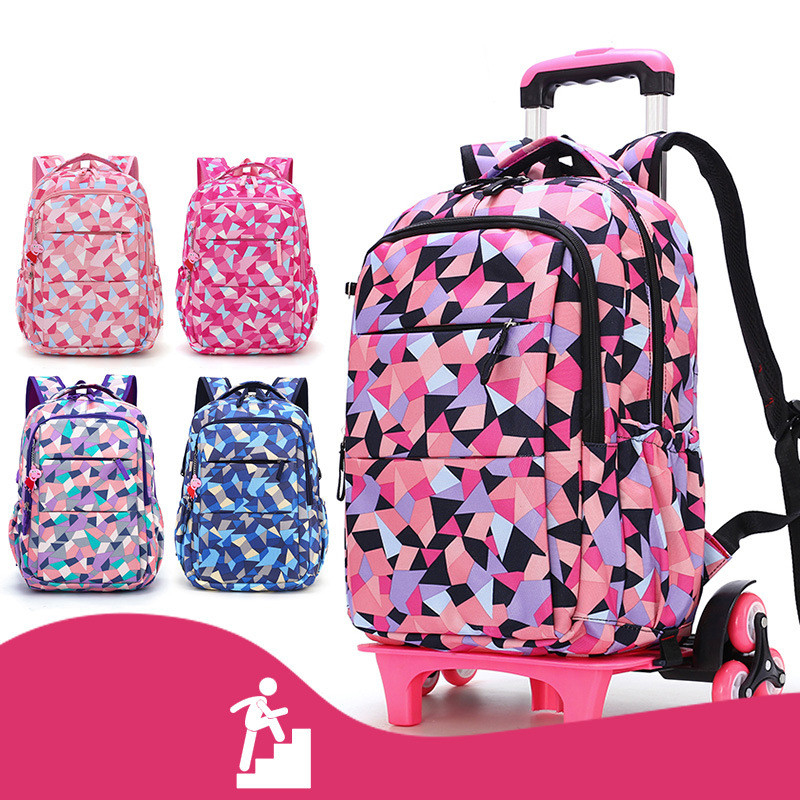 Hot Sales Removable Children School Bags with 2/6 Wheels for Girls Trolley Backpack Kids Wheeled Bag Bookbag travel luggage-in School Bags from Luggage & Bags    2
