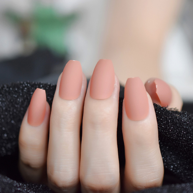 Matte Ballerina Nail Art Tips Burgundy Blue Black Green False Coffin Nails Soft Nude Pink Grey Flat Shape Manicure Fake Nail