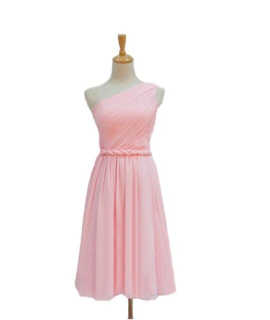 Short light pink one shoulder cheap chiffon bridesmaid dress 2016 ...