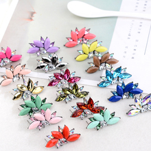 2018 Elegant Crystal Opal Stone Stud Earrings Christmas Party Earrings for Women Trendy Earrings 19 colors
