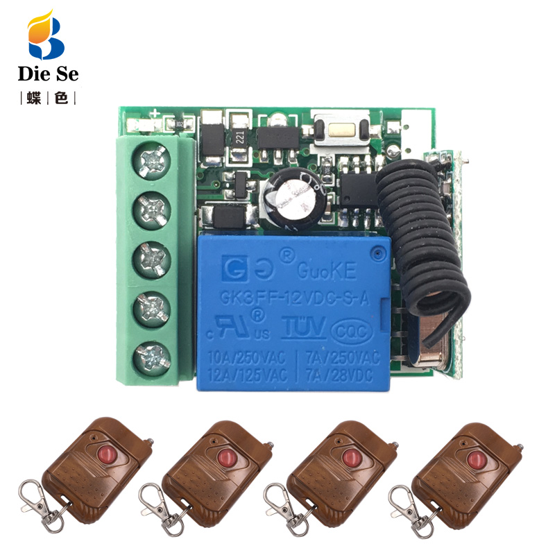 433MHz Universal Wireless Remote Control DC 12V 1CH Relay Receiver Module RF Switch 1 Button Remote Control Gate Garage opener