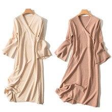 Long Flare Sleeve Knitted Sweater Dress Cross V Neck Wool Women New Spring Black A Line Dresses Tops Femme