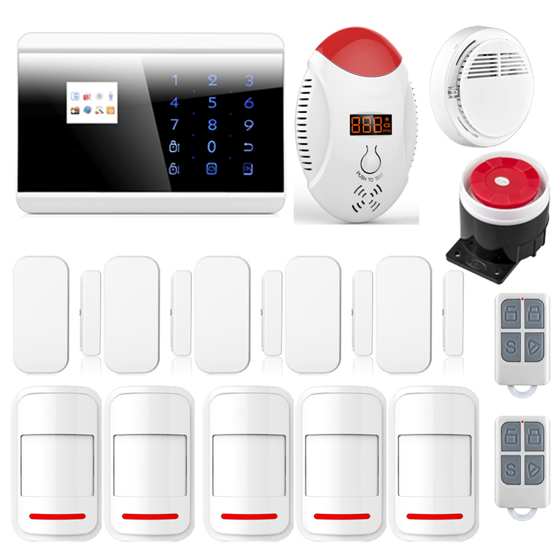 Wireless GSM PSTN Home Alarm System Android iOS APP Control Glass Vibration Sensor CO Detector 8218G wireless vibration break breakage glass sensor detector 433mhz for alarm system