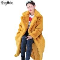 Nagodo/пальто с искусственным кроличьим мехом 2018, зимняя длинная норка, меховое пальто для женщин, Свободное пальто, роскошное, плотное, теплое,