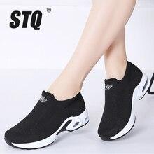 STQ 2020 Autumn Women Platform Sneakers Shoes Flat Slip On Walking Shoes Women Black Breathable Mesh Sock Sneakers Shoes 1858