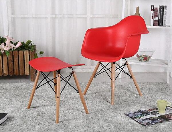 Design moderno plastica sedia da pranzo in legno e sgabello set 1