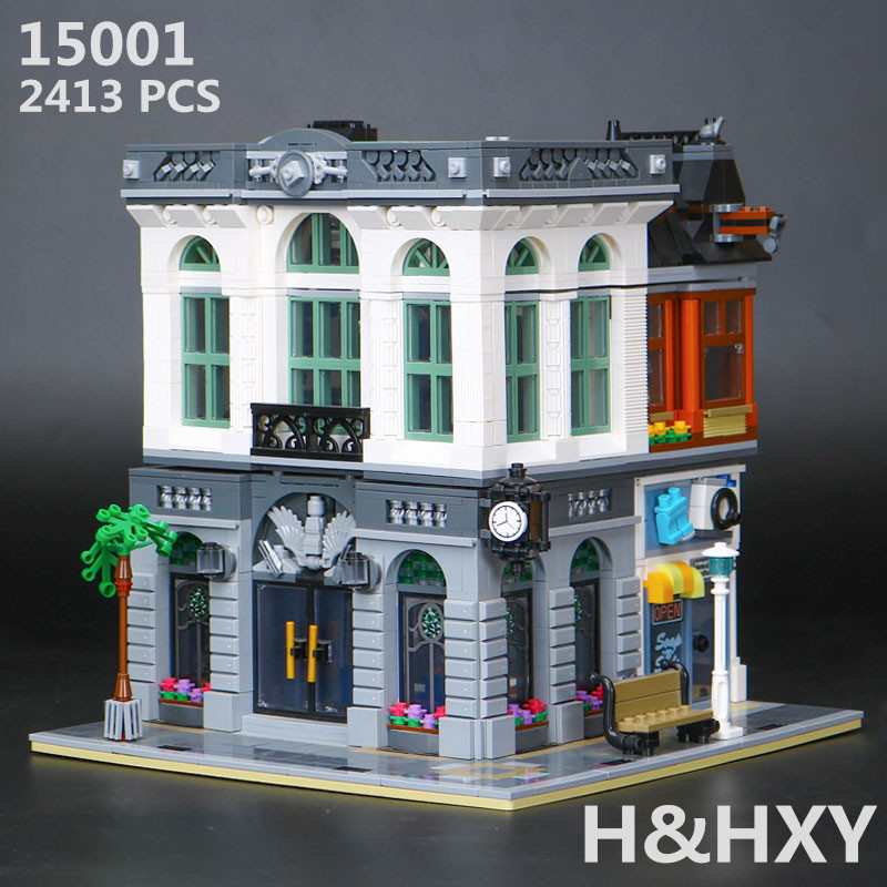 H&HXY IN STOCK Free shipping 15001 2413Pcs  Brick Bank Model Building Kits  Blocks Bricks Toy LEPIN Compatible With 10251 Gifts free shipping lepin 2791pcs 16002 pirate ship metal beard s sea cow model building kits blocks bricks toys compatible with 70810