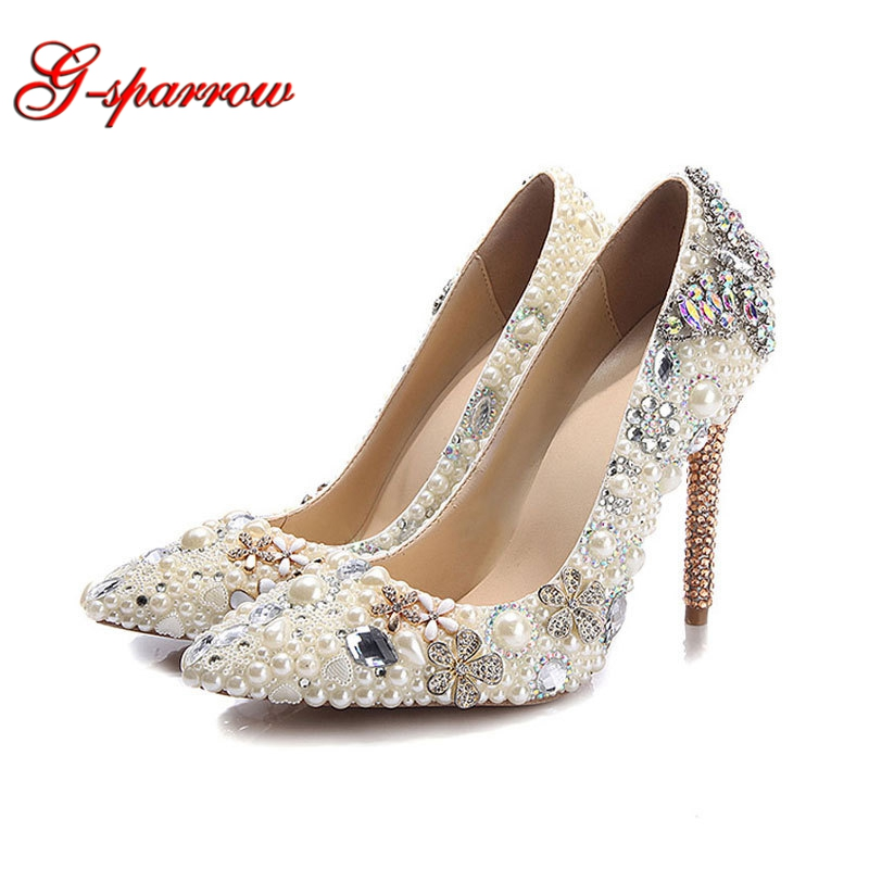 Ivory Pearl Thin Heel Women Shoes Beautiful Butterfly Rhinestone Wedding Shoes Pointed Toe Bride Dress Shoes Party Prom Pumps girls pearl beading rhinestone sandals princess square heel pointed toe dress shoes children wedding party formal shoes aa51329