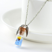 Original Drifting Bottle Lively Pendent cylinder Glass Necklace Creative Natural Drift Sand Women Dry Flower Necklace Girls Gift chic dry flower necklace for women