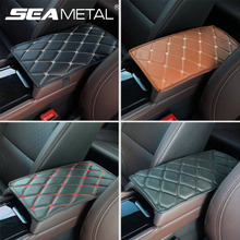 Car Armrest Cushion PU Leather Car Armrest Covers Universal Center Console Auto Seat Armrests Box Storage Black Mat Protection
