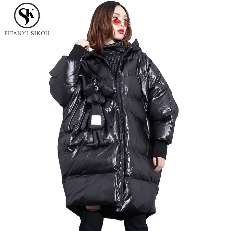 Winter jacket women 2018 New Fashion Doll ornaments Hooded Coats Oversized Cotton padded coat Thick warm
