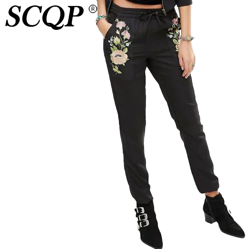 SCQP Black Cotton Solid Casual Jeans Woman Mid Waist Autumn Embroidery Floral Women Pencil Pants 2016 Pockets Trousers Women рюкзак case logic 17 3 prevailer black prev217blk mid