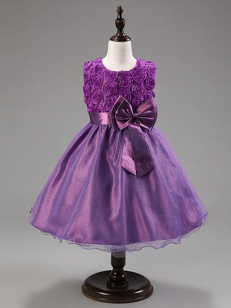 Hot Sale Purple Baby Girl Princess Tulle Tutu Summer Dress 2018 Cute Girls Wedding Party Dress Bow Prom Dresses