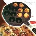 12 Buracos Fabricante de Bolas de Polvo Takoyaki Pan Grill Molde Placa Queima com Alça DIY Cozinha Cozinhar Ferramentas CT065