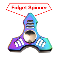 Rainbow Color Finger Gyro Metal EDC Hand Spinner Fidget Spiner For Autism And ADHD Rotation Anti