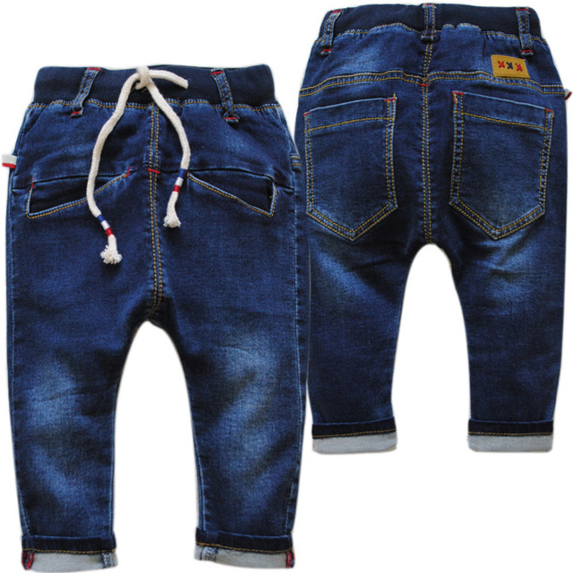 4012  harem pants jeans baby jeans boys navy blue baby trousers casual pants soft elastic boy jeans new kids spring autumn