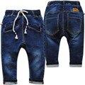 4012 pantalones harén pantalones vaqueros del bebé muchachos azul marino bebé pantalones casuales pantalones elásticos suaves del muchacho pantalones vaqueros nuevos niños de primavera otoño