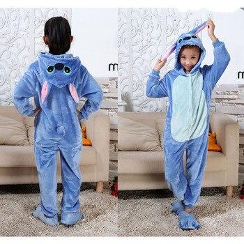 bf4ec47c2 Punto pijamas de los niños de dibujos animados pijama unicornio niños niñas  dinosaurio niños mono franela pijama para 4 6 8 10 12 años